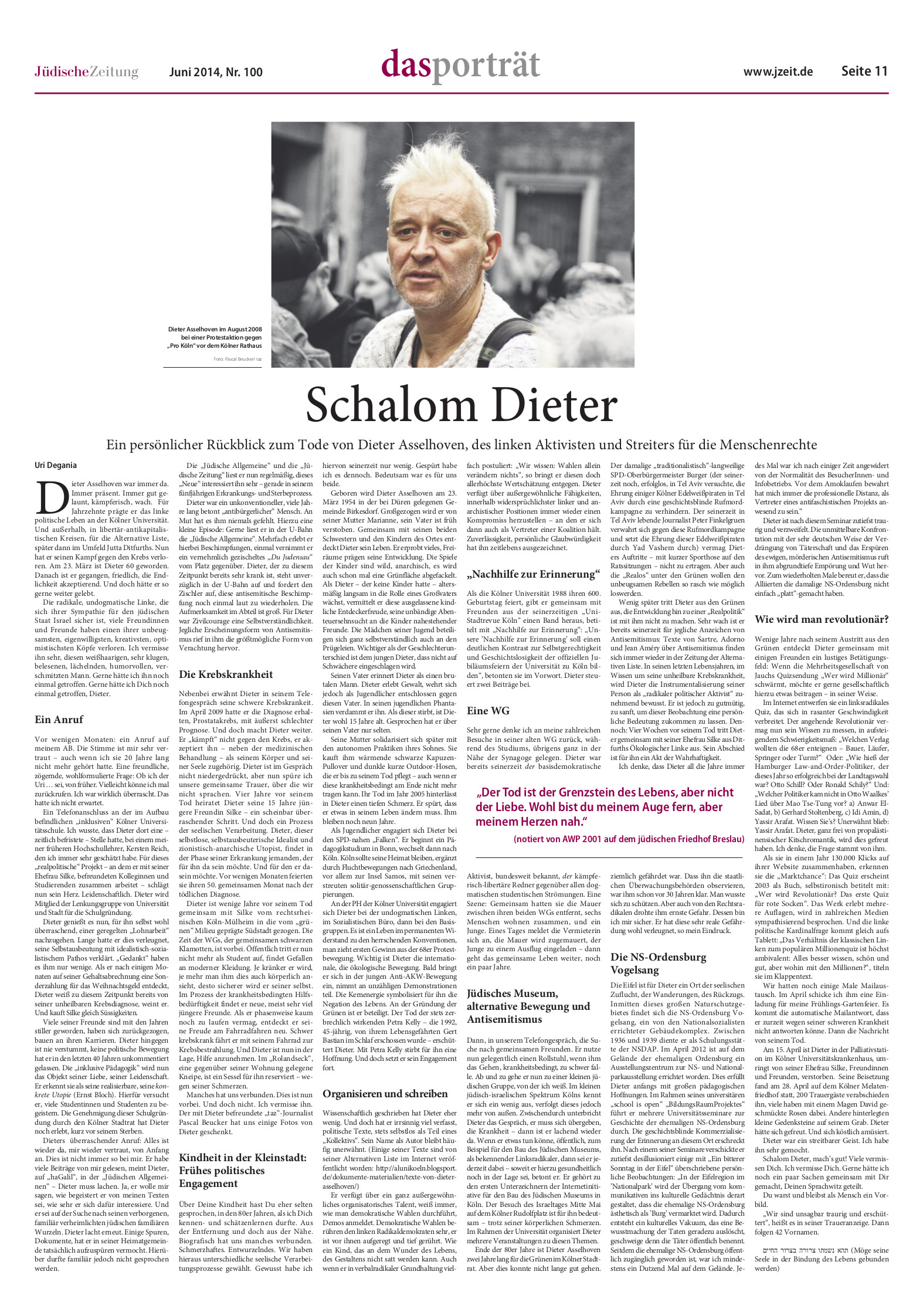 Jüdische Zeitung Nachruf Shalom Dieter JZD_02_06_14_Seite11.jpg